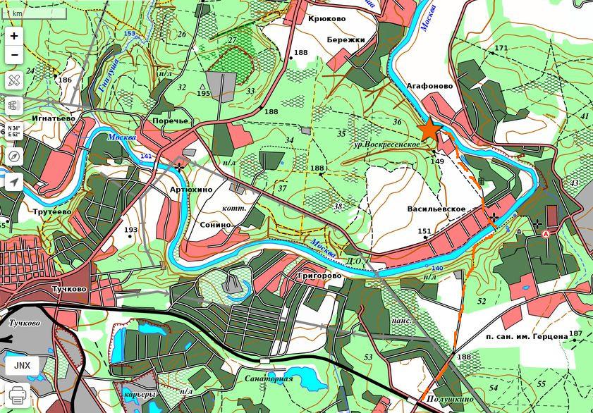 Карта дороги пешком на слет КВТ 2018 осень от ст.Полушкино